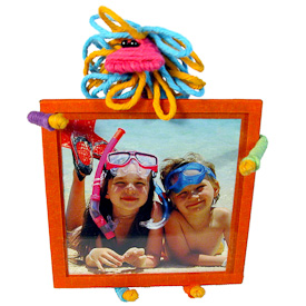 """Lion Cotton and String Doodad Picture Frames  Crafted by Artisans in Colombia  Measure 5-1/2"""" high x 4-1/4"""" wide x 4"""" deep  with 3-1/4"""" x 3-1/4"""" image space"""