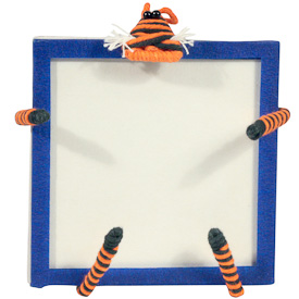 "Tiger Cotton and String Doodad Picture Frames  Crafted by Artisans in Colombia  Measure 5-1/2"" high x 4-1/4"" wide x 4"" deep  with 3-1/4"" x 3-1/4"" image space"