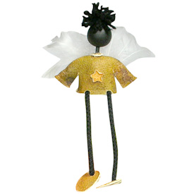 "Black Angel Orange Peel Doll  Crafted by Artisans in Colombia  Measures 8"" high x 3-3/4"" wide x 2"" deep"