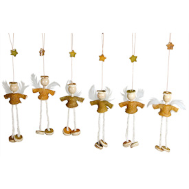 """Set of 6, Mini Orange Peel Doll Angel Ornaments  Crafted by Artisans in Colombia  Each Measures 5"""" high with 3-1/2"""" drop"""