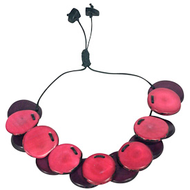 """Fuchsia and Purple Tagua Slice Bracelet  Crafted by Artisans in Colombia  With 1-1/2"""" to 3"""" adjustable diameter"""