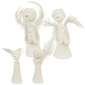 "White Flour Paste Angel  Crafted by Artisans in Colombia  Medium Measures 2-1/2"" high  Small Measures 1-3/4"" high"