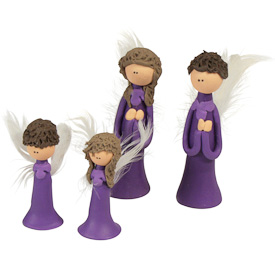 "Purple Flour Paste Angel  Crafted by Artisans in Colombia  Medium Measures 2-1/2"" high  Small Measures 1-3/4"" high"