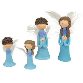 "Blue Flour Paste Angel  Crafted by Artisans in Colombia  Medium Measures 2-1/2"" high  Small Measures 1-3/4"" high"
