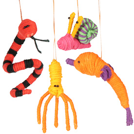 """Seaside Cotton and String Doodad Ornaments  Crafted by Artisans in Colombia  Measure 2 to 3-1/2"""" high with variable dimensions"""