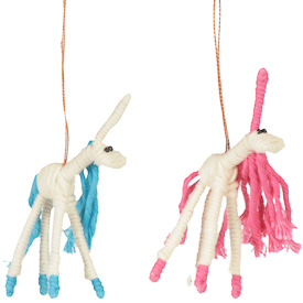 "Unicorn Cotton and String Doodads  Crafted by Artisans in Colombia  Measure 4"" high with variable dimensions"