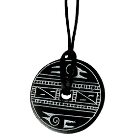 """Coal Pendant with Bird Design  Crafted by Artisans in Colombia  Measures 1-3/4"""" in diameter and 1/8"""" deep"""
