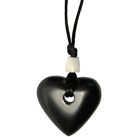 """Heart Shaped Coal Pendant  Crafted by Artisans in Colombia  Measures 1-1/4"""" high x 1-1/4"""" wide x 1/4"""" deep"""