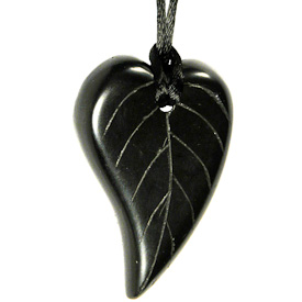 """Leaf Shaped Coal Pendant  Crafted by Artisans in Colombia  Measures 2-1/4"""" high x 1-1/2"""" wide x 1/4"""" deep"""
