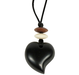 """Raindrop Shaped Coal Pendant  Crafted by Artisans in Colombia  Measures 1-1/4"""" high x 1-1/4"""" wide x 1/4"""" deep"""