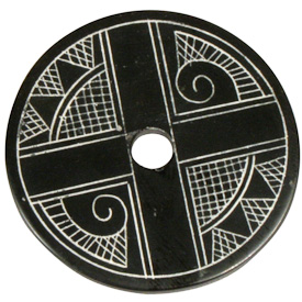 """Coal Pendant with Muisca Scroll #4  Crafted by Artisans in Colombia  Measures 1-3/4"""" diameter and 1/8"""" thick"""