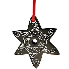 "Star Coal Ornament  Crafted by Artisans in Colombia  Measures 2-3/4"" high x 2-1/4"" wide x 1/4"" deep"