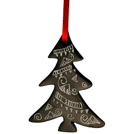 "Tree Coal Ornament  Crafted by Artisans in Colombia  Measures 2-1/2"" high x 2"" wide x 1/4"" deep"