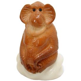 Tagua Orangutan Figurine Carved by Artisans of Ecuador   Measures: 3-1/2 high x 2 wide x 1-1/2 deep