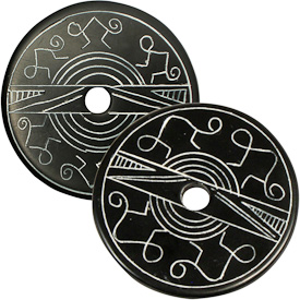 """Coal Pendants with Monkey Designs  Crafted by Artisans in Colombia  Measure 1-3/4"""" diameter and 1/8"""" thick"""