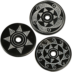 "Coal Pendants with Sun Designs  Crafted by Artisans in Colombia  Measure 1-3/4"" diameter and 1/8"" thick"