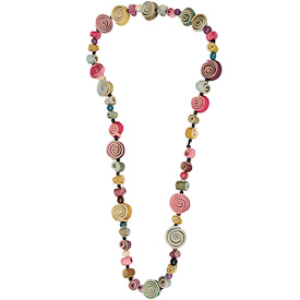 "Rainbow Orange Peel and Acai Seed Necklace  Crafted by Artisans in Colombia  Solid Single Strand Measures 30"", not adjustable"