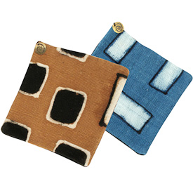 "Mud Cloth Coasters, Set of 6  Crafted by Artisans in Mali  Each Measures 4-1/4"" x 4-1/4"""