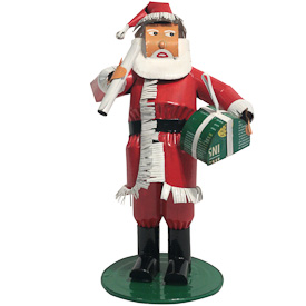 "Red Santa made of Recycled Metal  Crafted by Artisans in Mali  Measures 8-1/2"" high x 5-1/4"" wide x 4-1/2"" deep"