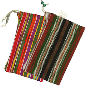 """Assorted Chocolate Bags from hand woven fabric  Crafted by Artisans in Guatemala  Measure 7"""" high x 5"""" wide"""