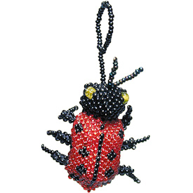 "Lady Bug Glass Bead Ornaments  Crafted by Artisans in Guatemala  Measure 3/4"" high x 1-1/2"" wide x 2"" long"