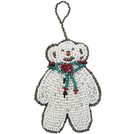 "Teddy Bear Glass Bead Ornaments  Crafted by Artisans in Guatemala  Measure 2-3/4"" high x 2"" wide x 1/2"" deep"