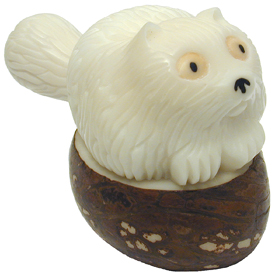 Tagua Long Haired Cat Figurine Carved by Artisans of Ecuador   Measures: 2 high x 1-1/2 wide x 3 length