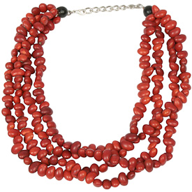 """Red Seed Necklace with four strands  Crafted by Artisans in Colombia  Measures 16"""" in length with lobster claw clasp and a 2"""" extension"""