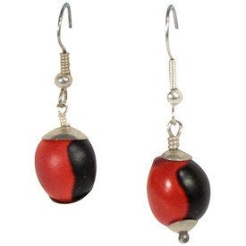 "Short Choco Manchado Seed Earrings  Crafted by Artisans in Colombia  Measure 1"" high, with sterling silver hooks"