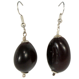 "Amber Seed Earrings  Crafted by Artisans in Colombia  Measure 1"" high, with sterling silver hooks"