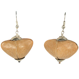 "Large Brown Seed Earrings  Crafted by Artisans in Colombia  Measure 1"" high, with sterling silver hooks"