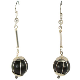 "Long Black Seed Earrings with Silver Wire  Crafted by Artisans in Colombia  Measure 1-1/2"" high, with sterling silver hooks"