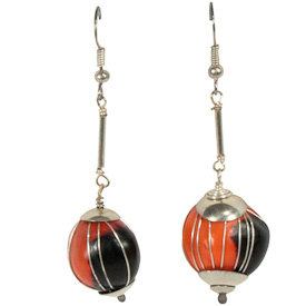 """Long Red and Black Seed Earrings with Silver Wire  Crafted by Artisans in Colombia  Measure 1-3/4"""" high, with sterling silver hooks"""