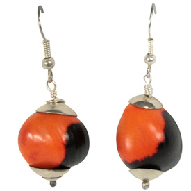 "Short Red and Black Seed Earrings  Crafted by Artisans in Colombia  Measure 1"" high, with sterling silver hooks"