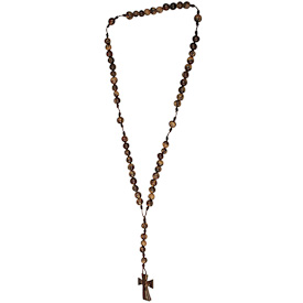 "Rosary of Acai Seeds with Coconut Shell Cross  Crafted by Artisans in Colombia   Measures 18"" long total, 13"" in the loop and 5"" at the cross"