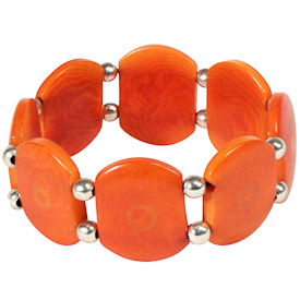 """Orange Tagua Bracelet with Silver Beads and Elastic Band  Crafted by Artisans in Colombia  Measures 1"""" wide with variable diameter"""