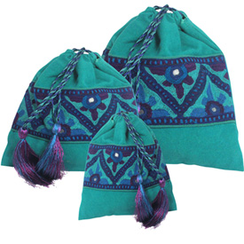 Green Drawstring Pouches  Crafted by Artisans in Pakistan  Available in Large, Medium and Small