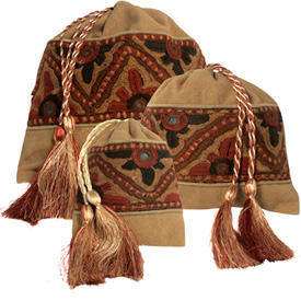 Gold Drawstring Pouches  Crafted by Artisans in Pakistan  Available in Large, Medium and Small