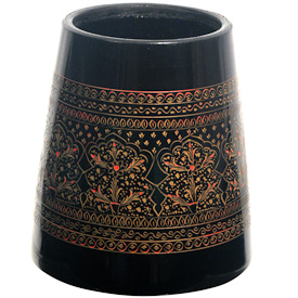 """Flower Design Lacquered Pencil Holder  Crafted by Artisans in Pakistan  Measures 4"""" high x 3-3/4"""" diameter"""