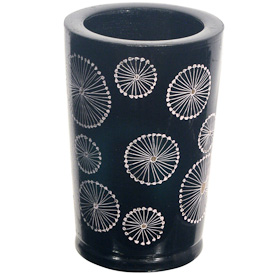 """Star Design Lacquered Pencil Holder  Crafted by Artisans in Pakistan  Measures 4-1/4"""" high x 2-3/4"""" diameter"""