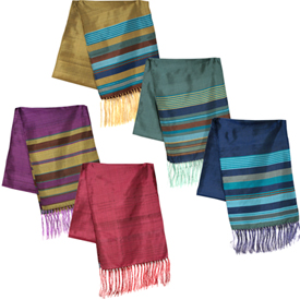 "Colorful Silk Scarves  Crafted by Artisans in Afghanistan  Measure 62"" long x 11"" wide"