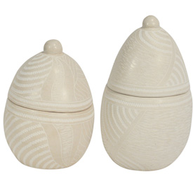 """Egg Shaped White Soapstone Boxes  Crafted by Artisans in Haiti  Large measure 6-1/4"""" high x 3-1/4"""" diameter   Small measures 5"""" high x 2-1/4"""" diameter"""