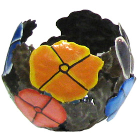 """Recycled Metal Luminary with Painted Flowers  Crafted by Artisans in Haiti  Measures 5"""" high x 6-1/2"""" diameter"""