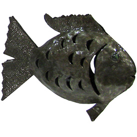 "Fish Shaped Recycled Metal Luminary  Crafted by Artisans in Haiti  Measures 10-1/2"" high x 13"" wide x 2"" deep"