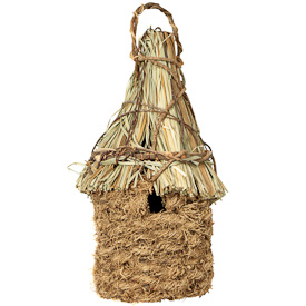 "Vine and Vetiver Birdhouse with Straw Roof  Crafted by Artisans in Haiti  Measures 11-3/4"" high x 5-1/2"" wide x 5-1/2"" deep"