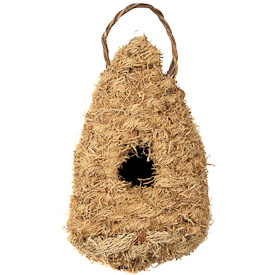 """Vetiver Birdhouse  Crafted by Artisans in Haiti  Measures 11"""" high x 5-1/2"""" wide x 5"""" deep"""