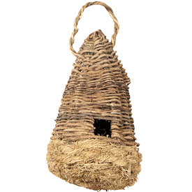"""Vine and Vetiver Birdhouse  Crafted by Artisans in Haiti  Measures 11"""" high x 5-1/4"""" wide x 5"""" deep"""