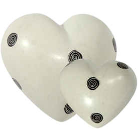 White Soapstone Hearts with Black Spirals  Crafted by Artisans in Kenya  Available in Large and Small