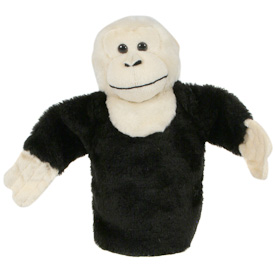 "White Throated Capuchin Monkey Puppet  Crafted by Artisans in Colombia  Measures 9"" high x 13"" across arm to arm"