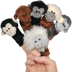 """Plush Monkey Finger Puppets  Crafted by Artisans in Colombia  Measure 4"""" high x 3"""" wide x 2"""" deep"""